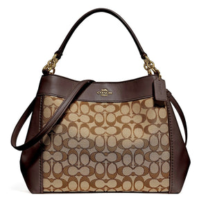 Coach F27579 IMC7C Lexy Khaki Brown Signature Outline Leather Shoulder Bag