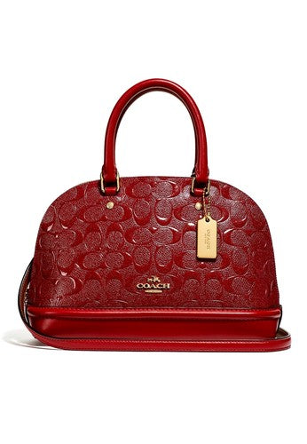 Coach F27597 IMN2G Mini Sierra Red Signature Satchel Debossed Leather Purse