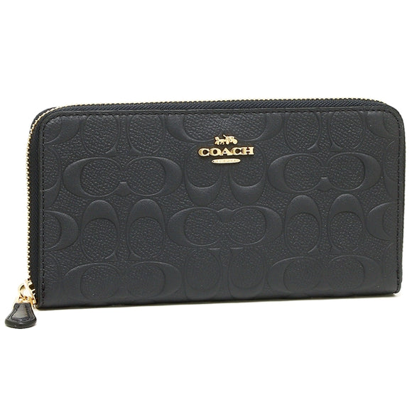 Coach F27865 IMMID Signature Midnight Embossed Leather Accordion Zip Wallet