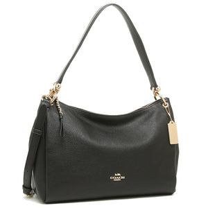 Coach F28966 IMBLK Mia Black Pebbled Leather Shoulder Bag Brand