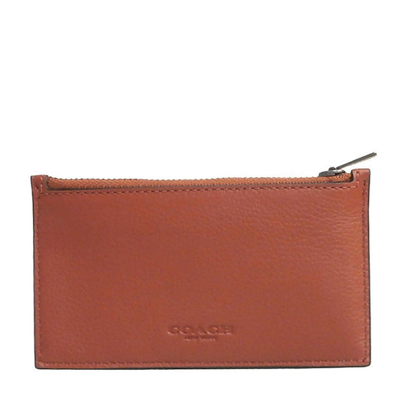 Coach F29272 QBL6H Pepper Brown Zip Card Case Sport Calf Slim Leather