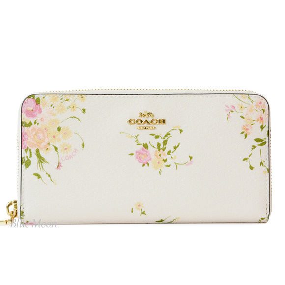 Coach F29384 IMCAH Chalk Multi Floral Print Bundle Accordion Zip Wallet