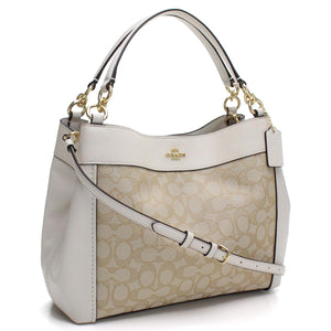 Coach F29548 IMDQC Lexy Khaki Chalk Signature Outline Small Leather Bag NEW