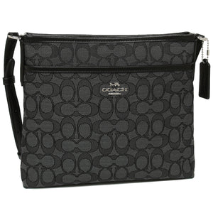 Coach F29960 SVDK6 Signature Black Smoke Outline Zip File Crossbody Handbag