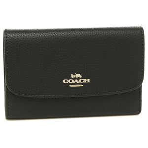 Coach F30204 IMBLK Black Pebbled Medium Envelope Leather Wallet BRAND NEW