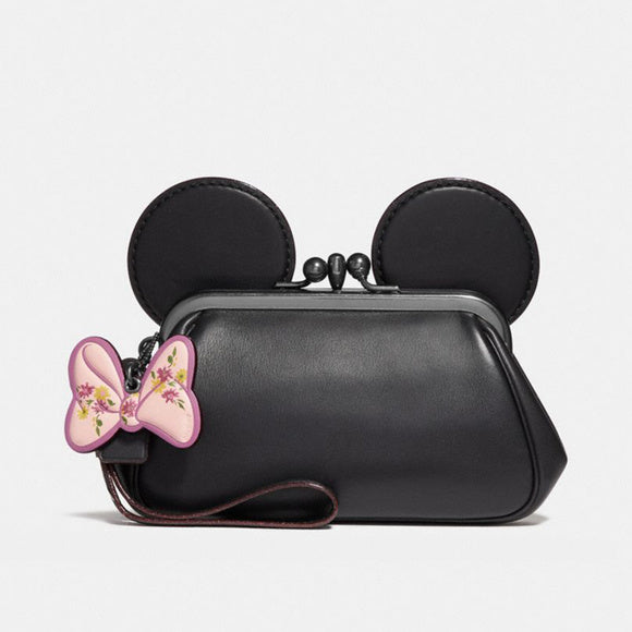 Coach F30212 QB/BK Disney Minnie Mouse Black Leather Ear Kisslock Wristlet