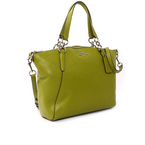 Coach F31076 SVAX7 Small Kelsey Yellow Green Pebble Leather Satchel Handbag