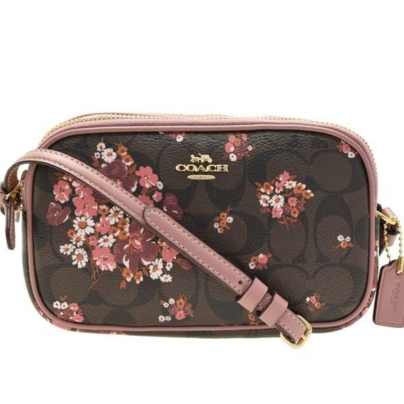 Coach F31580 IMBMC Signature Brown Multi Floral Coated Canvas Crossbody