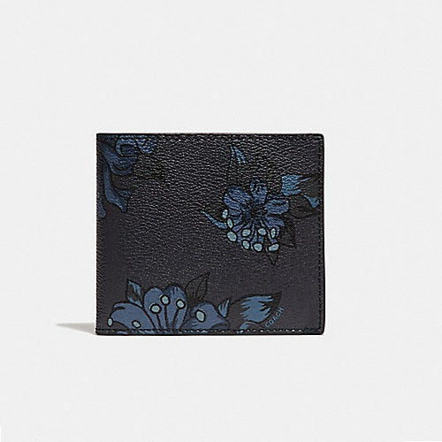 Coach F32304 F23 Double Billfold Midnight Multi Floral Hawaiian Lilly Wallet