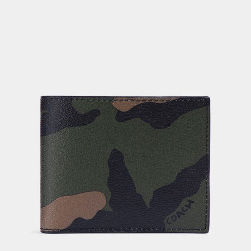Coach F32438 TAG Tangerine Multi Camo 3 in 1 Compact ID Men Wallet