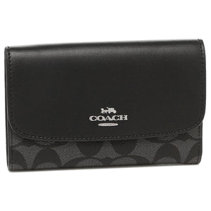 Coach F32485 SVDK6 Black Smoke Signature Medium Envelope Leather Wallet