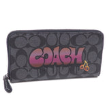 Coach F36079 QBNU9 Black Smoke Multi Signature Graffiti Accordion Zip Wallet