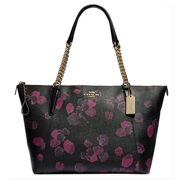 Coach F38114 IMO2D Ava Chain Tote Halftone Floral Black Wine Zip Handbag NEW