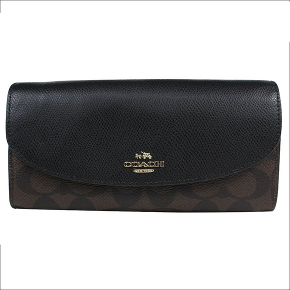 Copy of Coach F54022 IMMA8 Signature Logo PVC Brown Black Slim Envelope Wallet