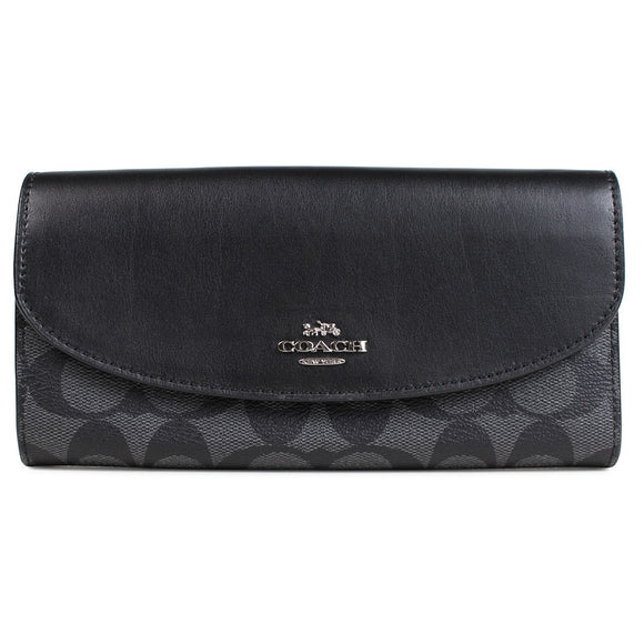 Coach F54022 SVDK6 Signature Logo PVC Black Smoke Slim Envelope Wallet
