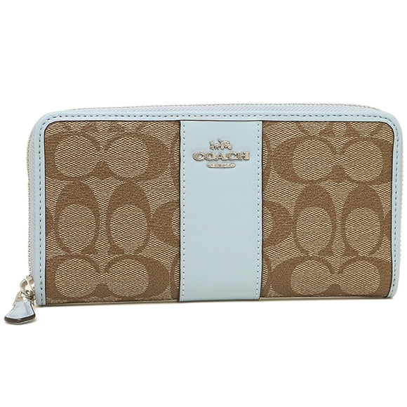 Coach F54630 SVNOQ Khaki Pale Blue PVC Signature Zip Around Accordion Wallet
