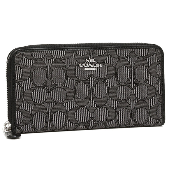 Coach F54633 SVDK6 Jacquard Black Smoke Outline Signature Accordion Zip Wallet