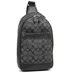 Coach F54787 CQ/BQ Charles Black Pack Signature PVC Backpack Leather NEW