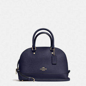 Coach F57555 IMMID Mini Sierra Midnight Blue Signature Satchel Leather Purse