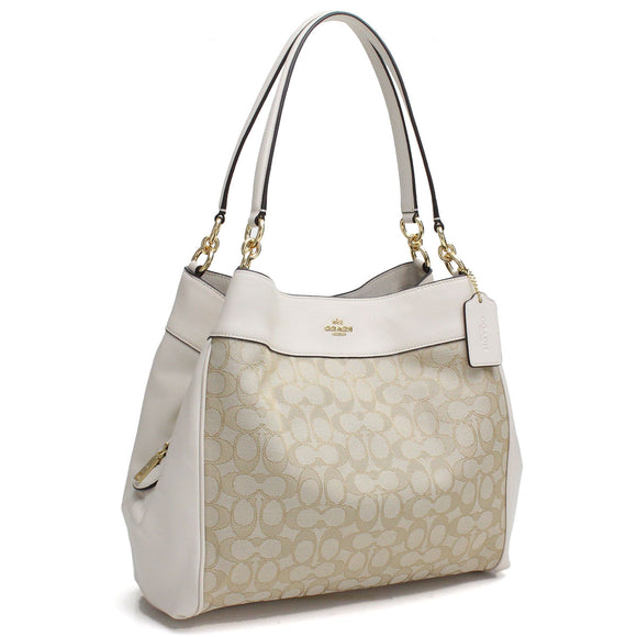 Coach F57612 IMDQC Lexy Khaki Chalk Signature Outline Leather Shoulder Bag