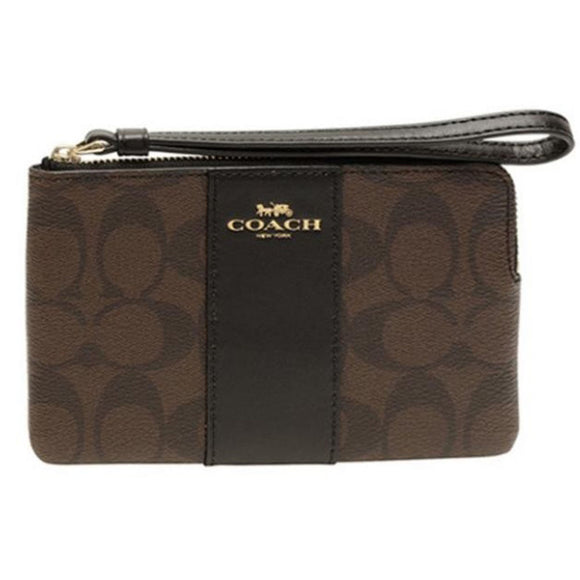 Coach F58035 IMAA8 Black Brown PVC Signature Logo Corner Zip Wristlet Wallet NEW