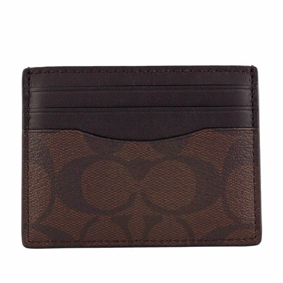Coach F58110 MA/BR Signature Mahogany Brown ID Card Case Slim Skinny Leather