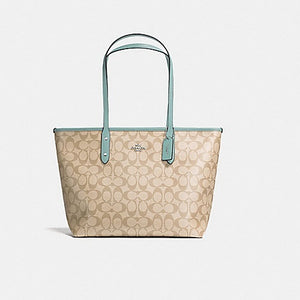 Coach F58292 SVNKA City Zip Tote Khaki Aquamarine Signature Leather Handbag NEW