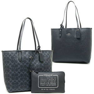Coach F58293 SVM6G Denim Signature Reverse City PVC Tote Leather Handbag