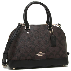 Coach F58295 IMAA8 Mini Sierra Black Brown Signature Satchel Leather Purse