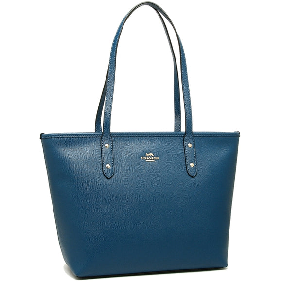 Coach F58846 IMN2E City Zip Tote Ink Blue Crossgrain Leather Shoulder Bag NEW