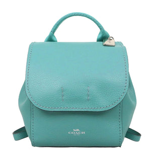 Coach F59819 SV/UU Derby Blue Green Mini Backpack Crossbody Leather