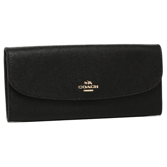 Coach F59949 IMBLK Crossgrain Black Leather Soft Slim Wallet BRAND