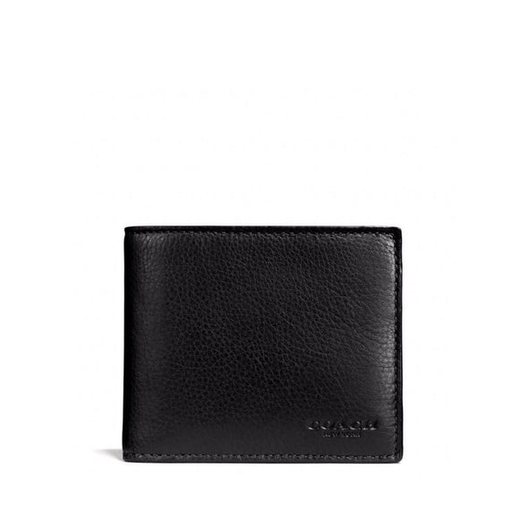 Coach F74991 BLK Black Compact ID Sport Calf Leather Bifold Men Wallet