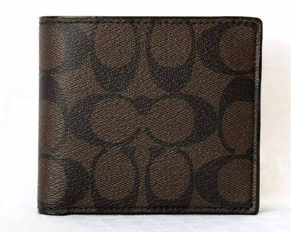 Coach F75083 MA/BR Mahogany Brown Signature PVC Coated Canvas Billfold Wallet
