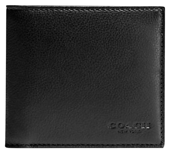 Coach F75084 BLK Black Double Billfold Sport Calf Leather Bifold Men Wallet