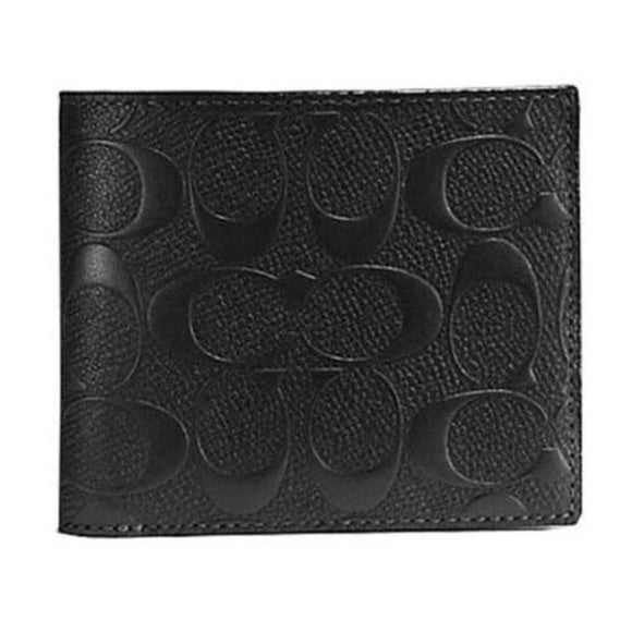 Coach F75371 BLK Signature Black Compact ID Crossgrain Men Wallet