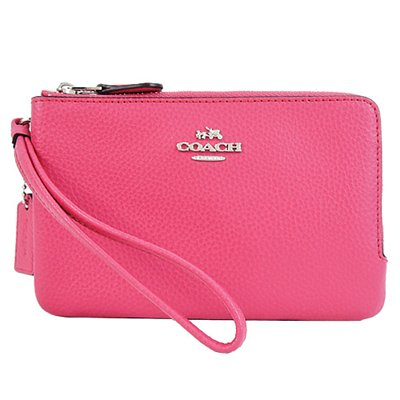 Coach F87590 SV/MJ Magenta Pebbled Leather Doble Corner Zip Wristlet Wallet