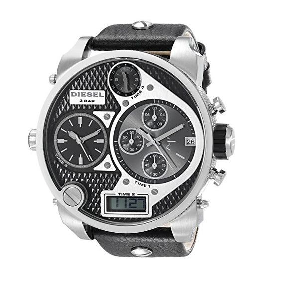 Diesel DZ7125 Mr Daddy Oversized Silver Black Dial Leather Band 56MM