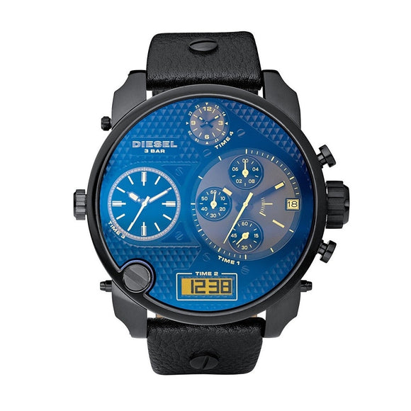 Diesel DZ7127 Mr Daddy Black Iridescent Dial Leather Band 56MM Time 4 Brand