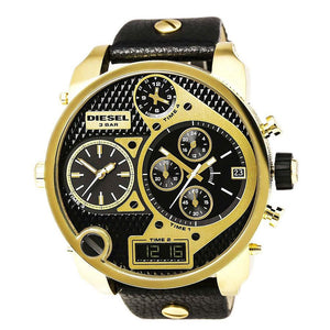 Diesel DZ7323 Mr Daddy Oversized Gold Black Leather Band Time 4