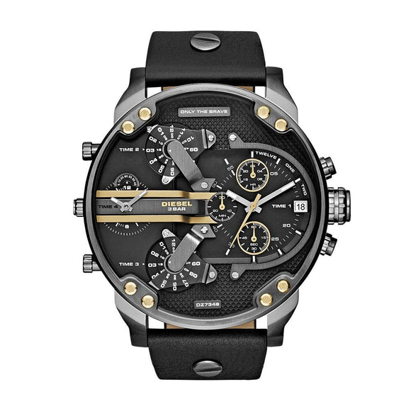 Diesel DZ7348 Mr Daddy 2.0 Gunmetal Black Leather Band 4 Time Stainless
