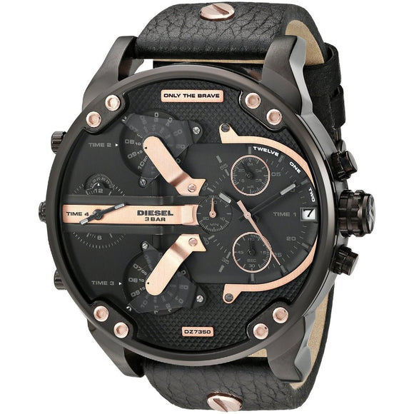 Diesel DZ7350 Mr Big Daddy 2.0 Black Leather Band Quad Time Stainless
