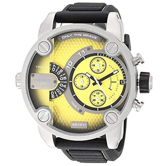 Diesel DZ7411 Little Daddy Gray Yellow Dial Black Silicone Band