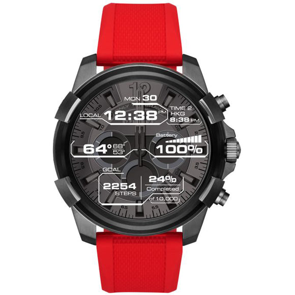 Diesel DZT2006 ON Full Guard Gunmetal Touch Red Silicone Band Smartwatch 48mm