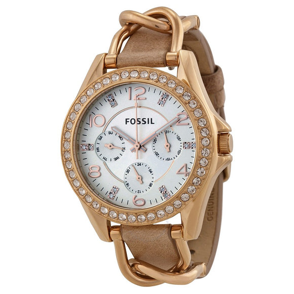 FOSSIL ES3466 Riley Rose Gold Glitz Bezel Multi-Function Leather Band