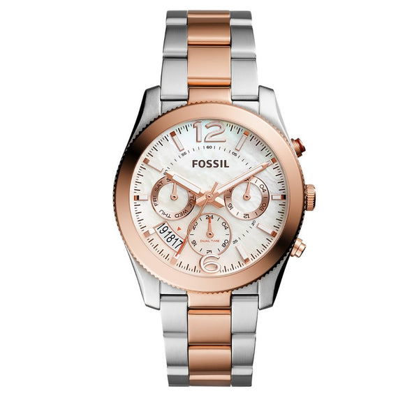 FOSSIL ES4135 Perfect Boyfriend Silver Rose Gold Stainles Steel Chrono