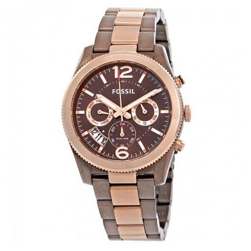 FOSSIL ES4284 Perfect Boyfriend Gunmetal Rose Gold Bezel Stainles Steel