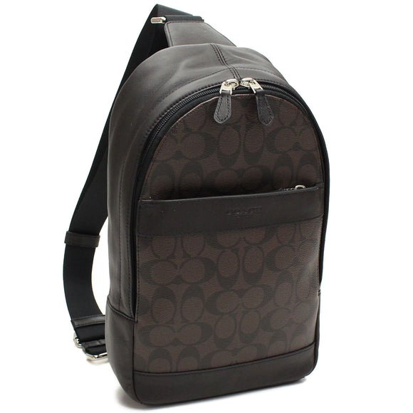 Coach F54787 QBAE4 Charles Mahogany Black Signature PVC Backpack Leather