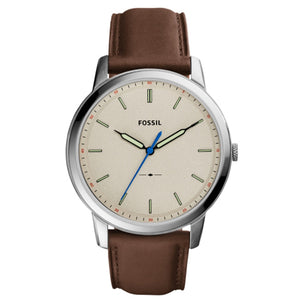 Fossil FS5306 Minimalist Silver Brown Leather Band Cream Dial Chronograph