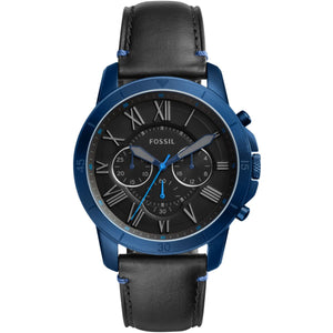 Fossil FS5342 Grant Navy Blue Chronograph Black Leather Band 44MM